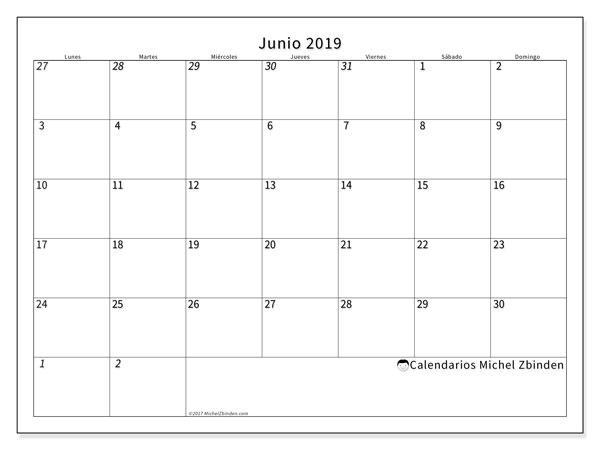 Calendario Junio 2019 Para Imprimir Pdf.Calendarios Junio 2019 Ld Michel Zbinden Es