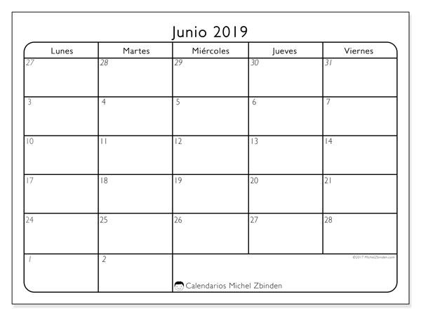 Calendario junio 2019, 74LV. Planificación para imprimir gratis.