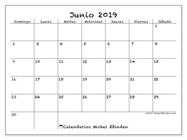 Calendario  junio de 2019, 77DS