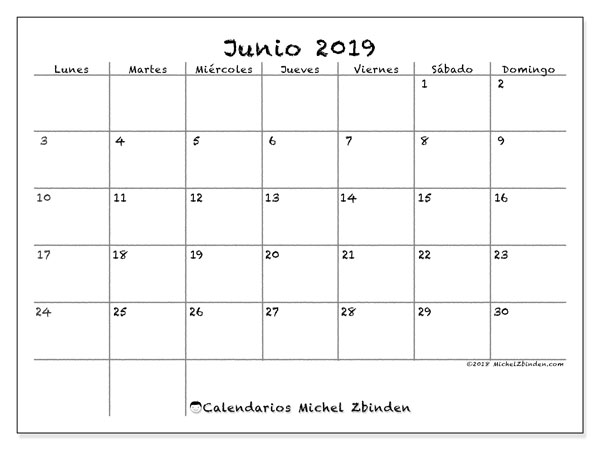 Calendario De Junio.Calendario Junio 2019 77ld Michel Zbinden Es