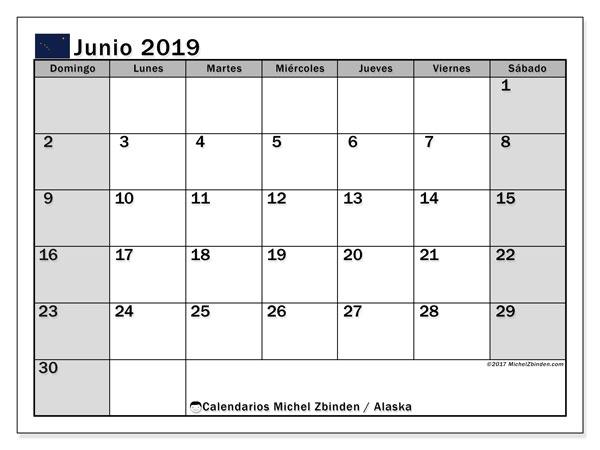 Calendario junio 2019, con días feriados en Alaska. Calendario vacaciones y festivos para imprimir gratis.