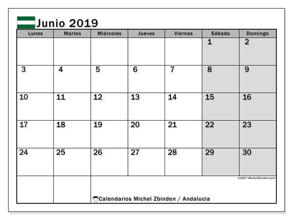 Calendario junio 2019, con los días festivos de Andalucia. Calendario mensual para imprimir gratis.