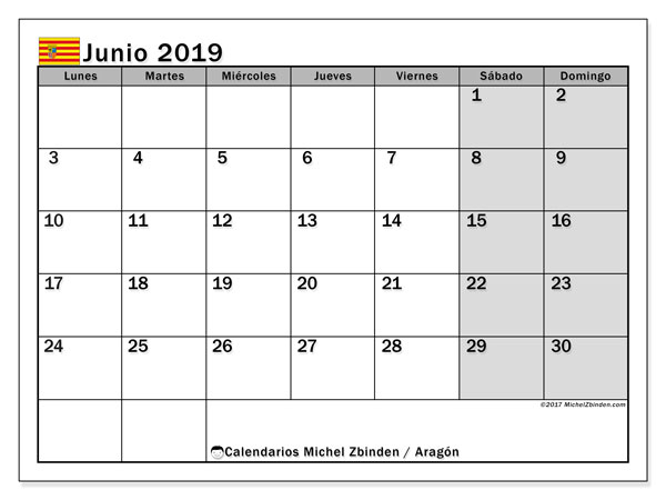 Calendario junio 2019, con días feriados de Aragón. Calendario vacaciones y festivos para imprimir gratis.