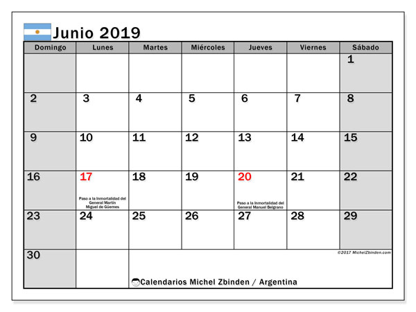 calendario junio 2019 argentina michel zbinden es. Black Bedroom Furniture Sets. Home Design Ideas