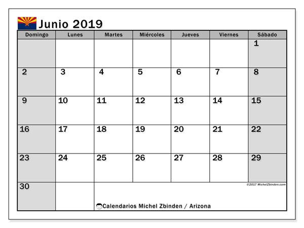 Calendario junio 2019, con días feriados en Arizona. Calendario vacaciones y festivos para imprimir gratis.