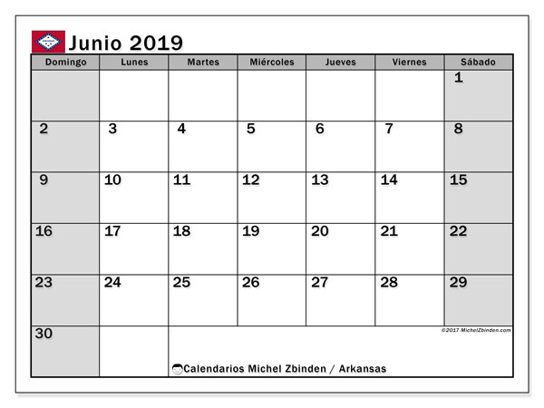 Calendario junio 2019, con días feriados de Arkansas. Calendario vacaciones y festivos para imprimir gratis.