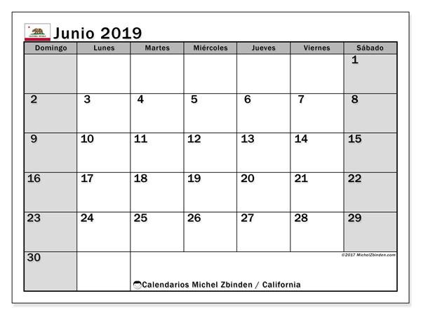 Calendario junio 2019, con días feriados de California. Calendario para imprimir gratis con días festivos.