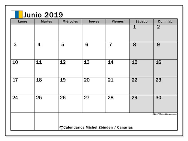 Calendario junio 2019, con días feriados en las Islas Canarias. Calendario para imprimir gratis con días festivos.