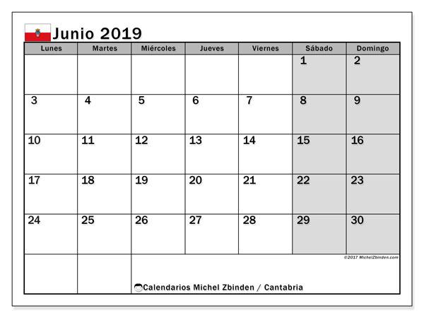 Calendario junio de 2019 - Cantabria. Calendario para imprimir: fiestas oficiales y días festivos.