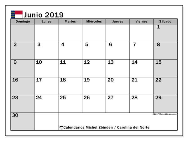 Calendario junio 2019, con días feriados en Carolina del Norte. Calendario vacaciones y festivos para imprimir gratis.