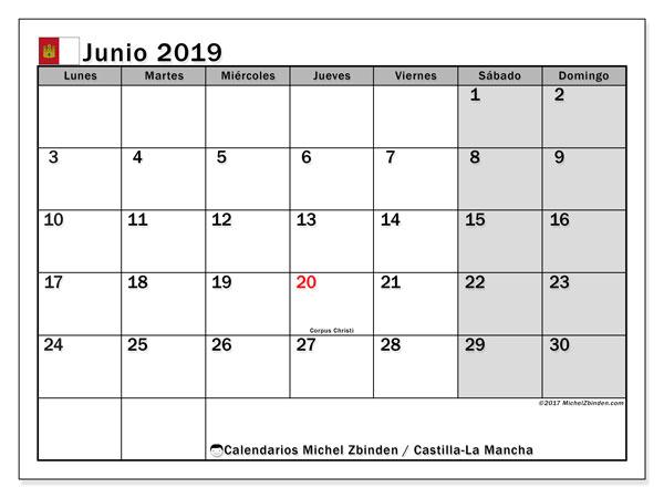 Calendario junio 2019, con días feriados en Castilla-La Mancha. Calendario vacaciones y festivos para imprimir gratis.