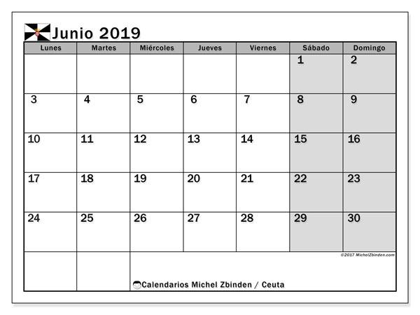 Calendario junio 2019, con días feriados en Ceuta. Calendario vacaciones y festivos para imprimir gratis.
