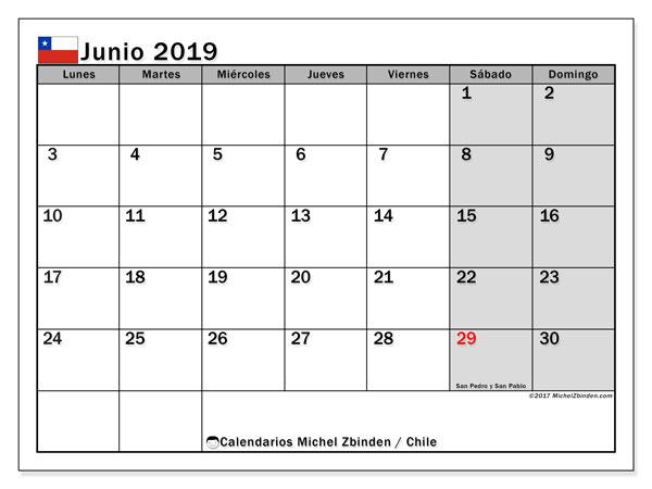Calendario junio 2019, con días feriados en Chile. Calendario vacaciones y festivos para imprimir gratis.