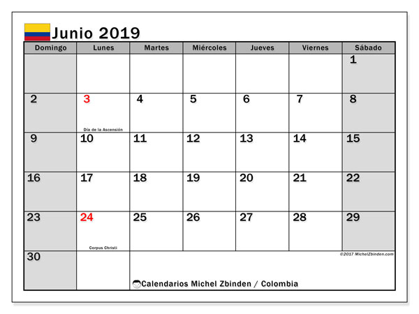 Calendario De Junio.Calendario Junio 2019 Colombia Michel Zbinden Es
