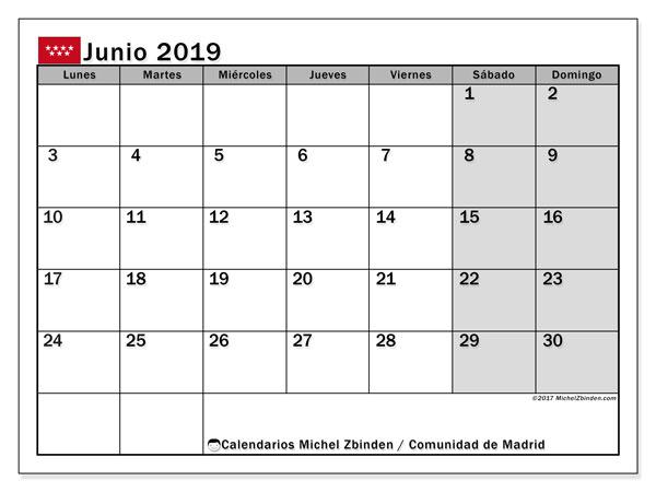 Calendario junio 2019, con días feriados de la Comunidad de Madrid. Calendario vacaciones y festivos para imprimir gratis.