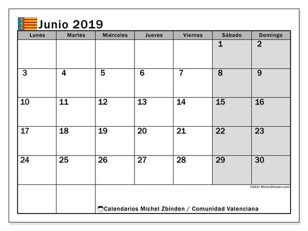 Calendario junio 2019, con días feriados de la Comunidad Valenciana. Calendario para imprimir gratis con días festivos.