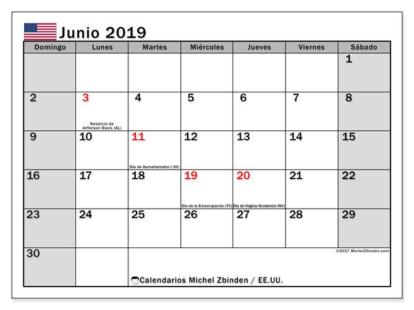 Calendario junio 2019, con días feriados de EE.UU.. Calendario para imprimir gratis con días festivos.