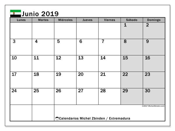 Calendario junio 2019, con días feriados en Extremadura. Calendario para imprimir gratis con días festivos.