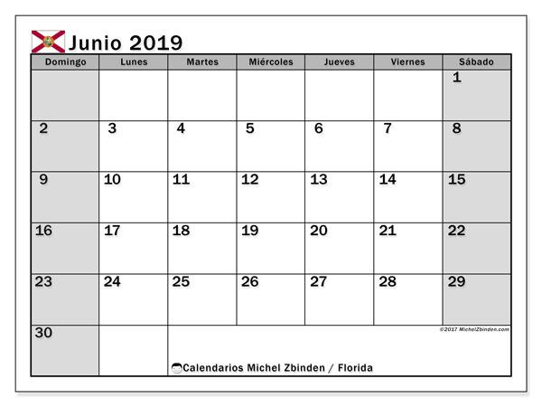 Calendario junio 2019, con días feriados en Florida. Calendario vacaciones y festivos para imprimir gratis.