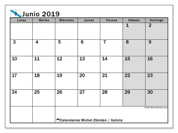 Calendario junio 2019, con los días festivos en Galicia. Almanaque para imprimir gratis.