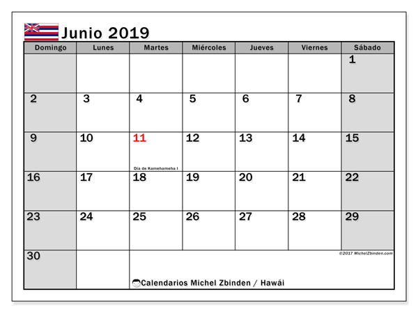 Calendario junio 2019, con días feriados en Hawái. Calendario vacaciones y festivos para imprimir gratis.