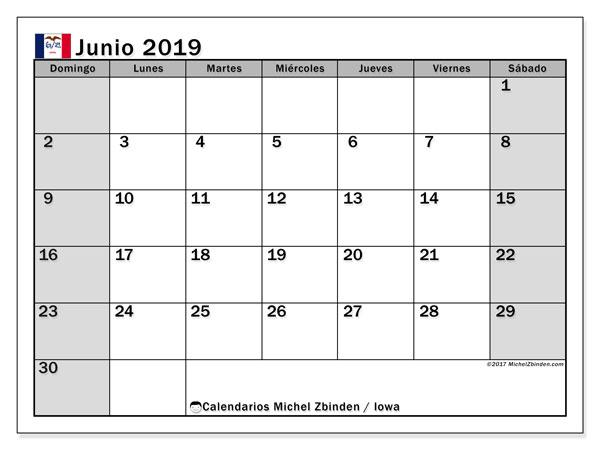 Calendario junio 2019, con días feriados en Iowa. Calendario para imprimir gratis con días festivos.