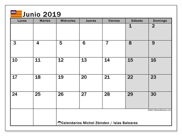 Calendario junio 2019, con días feriados en las Islas Baleares. Calendario para imprimir gratis con días festivos.