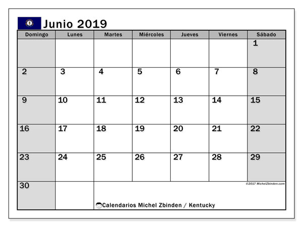 Calendario junio 2019, con días feriados en Kentucky. Calendario para imprimir gratis con días festivos.