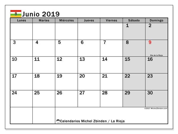 Calendario junio 2019, con los días festivos de La Rioja. Almanaque para imprimir gratis.