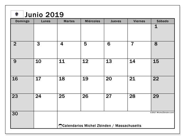 Calendario junio 2019, con días feriados en Massachusetts. Calendario vacaciones y festivos para imprimir gratis.