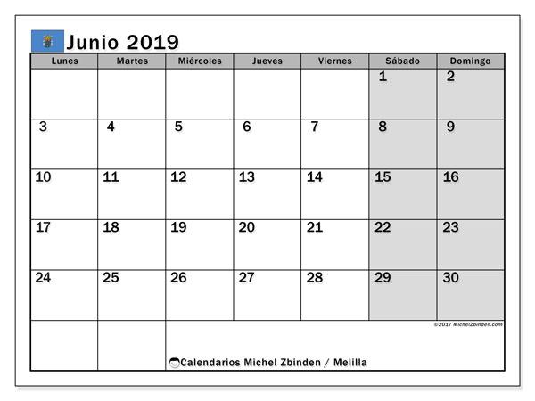 Calendario junio 2019, con los días festivos de Melilla. Calendario para el mes para imprimir gratis.