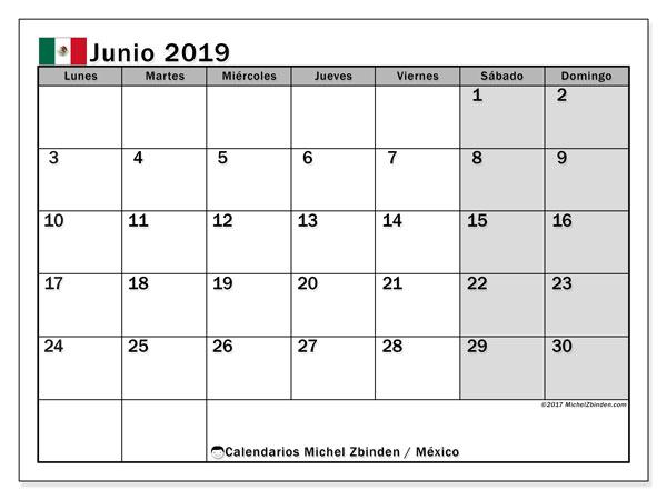 Calendario junio 2019, con días feriados de México. Calendario para imprimir gratis con días festivos.