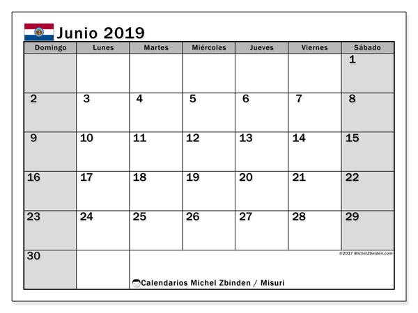 Calendario junio 2019, con días feriados en Misuri. Calendario para imprimir gratis con días festivos.
