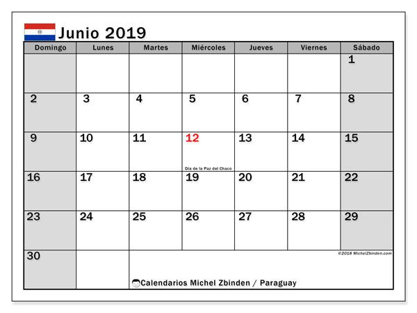 Calendario junio 2019, con días feriados en Paraguay. Calendario para imprimir gratis con días festivos.