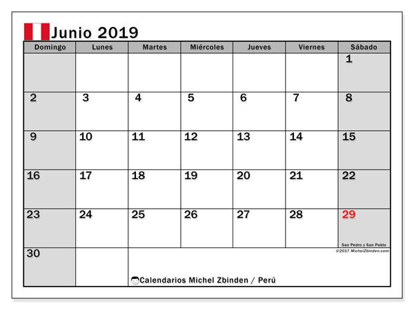 Calendario junio 2019, con los días feriados para Perú. Calendario gratuito para imprimir.