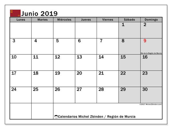 Calendario junio 2019, con los días festivos en la Región de Murcia. Calendario imprimible gratis.