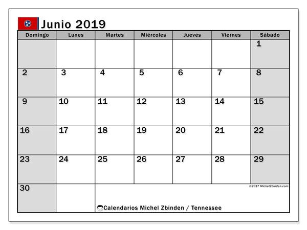 Calendario junio 2019, con días feriados en Tennessee. Calendario vacaciones y festivos para imprimir gratis.