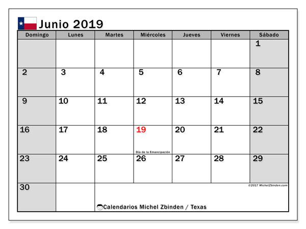 Calendario junio 2019, con días feriados en Texas. Calendario vacaciones y festivos para imprimir gratis.