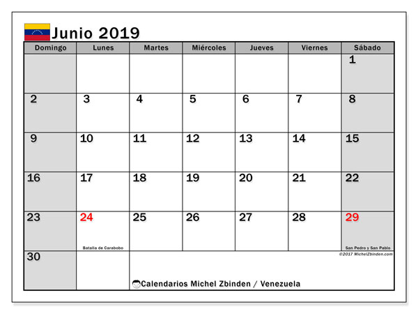 Calendario junio 2019, con los días feriados para Venezuela. Calendario gratuito para imprimir.