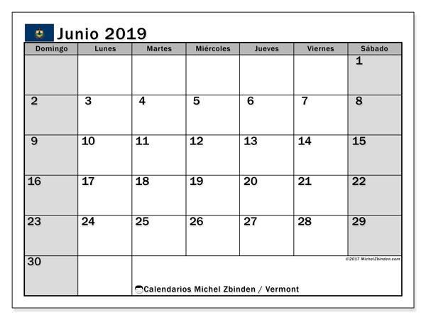Calendario junio 2019, con días feriados de Vermont. Calendario vacaciones y festivos para imprimir gratis.