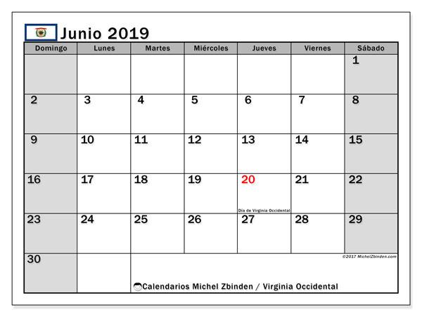 Calendario junio 2019, con días feriados de Virginia Occidental. Calendario vacaciones y festivos para imprimir gratis.