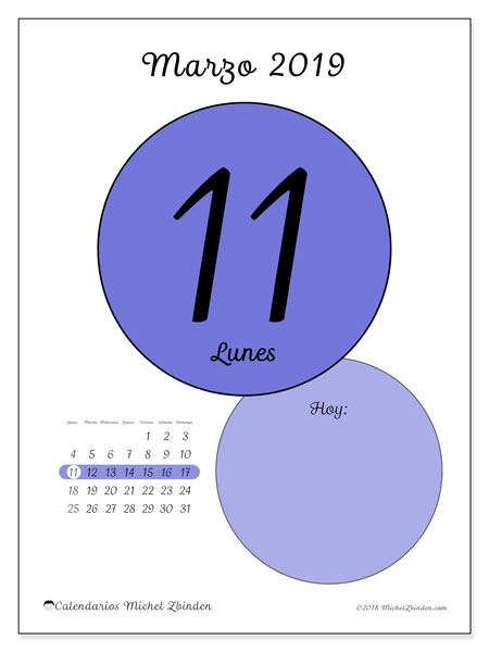 Calendario marzo 2019, 45-11LD. Calendario diario para imprimir gratis.