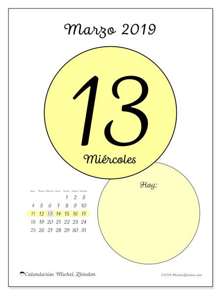 Calendario marzo 2019, 45-13LD. Calendario diario para imprimir gratis.