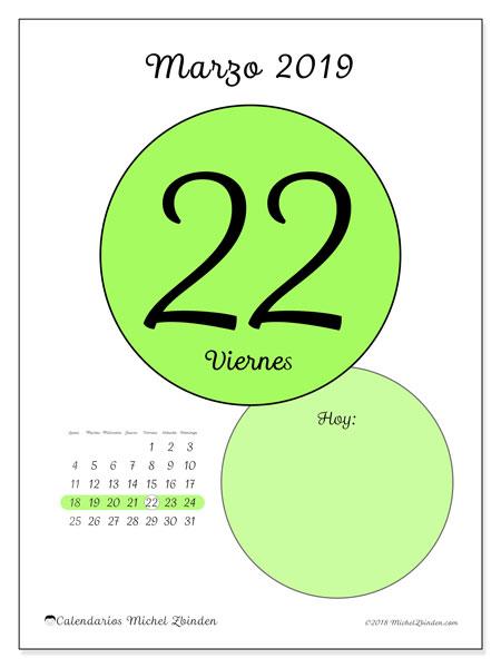 Calendario marzo 2019, 45-22LD. Calendario para el día para imprimir gratis.