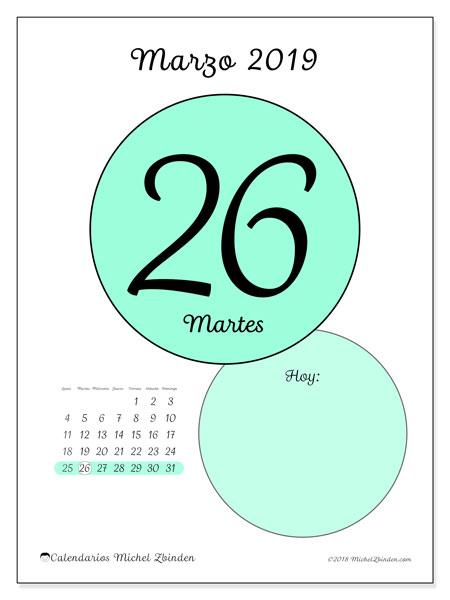 Calendario marzo 2019, 45-26LD. Calendario diario para imprimir gratis.