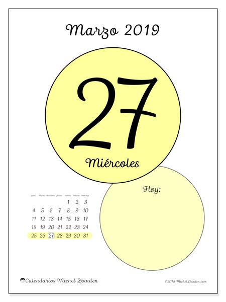 Calendario marzo 2019, 45-27LD. Calendario para el día para imprimir gratis.
