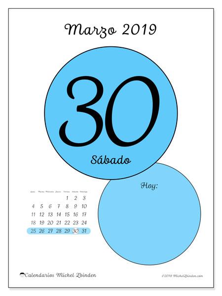 Calendario marzo 2019, 45-30LD. Calendario diario para imprimir gratis.