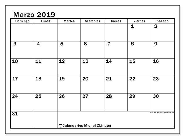 Calendario marzo 2019, 50DS. Calendario mensual para imprimir gratis.