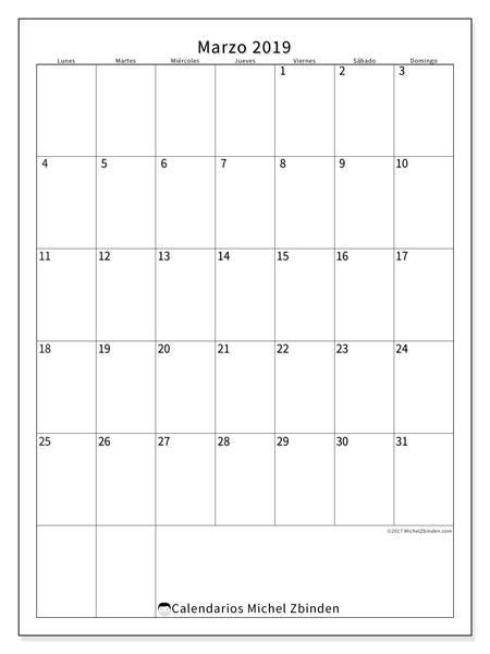 Calendario marzo 2019, 52LD. Calendario para el mes para imprimir gratis.