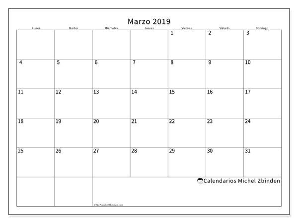 Calendario marzo 2019, 53LD. Calendario mensual para imprimir gratis.